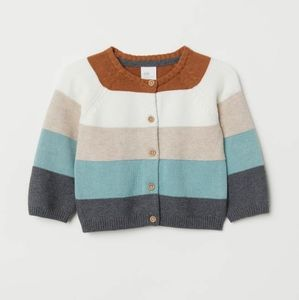 H&M Baby Textured Knit Striped Cardigan